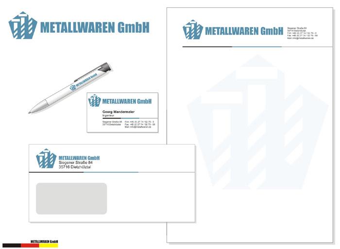 Логотип и фирменный стиль компании Metallwaren GmbH.  Портфолио.